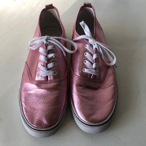 H&M Divided Pink Foil Lace Up Sneakers Size 41